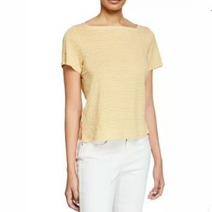 Eileen Fisher Organic Linen Stripe Square Neck Tee
